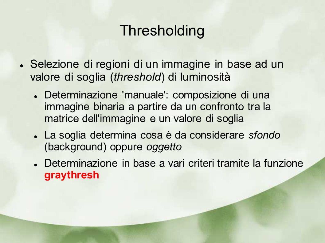 Thresholding Selezione di regioni di un immagine in base ad un valore di soglia (threshold) di luminosità Determinazione 'manuale': composizione di un