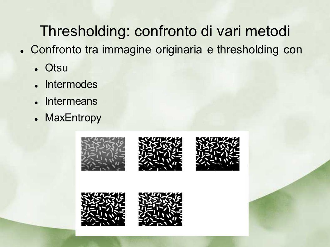 Thresholding: confronto di vari metodi Confronto tra immagine originaria e thresholding con Otsu Intermodes Intermeans MaxEntropy