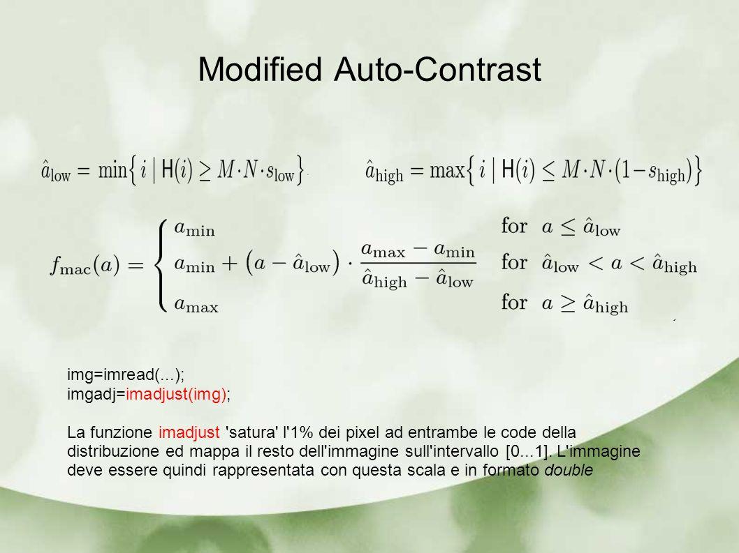 img=imread(...); imgadj=imadjust(img); La funzione imadjust 'satura' l'1% dei pixel ad entrambe le code della distribuzione ed mappa il resto dell'imm