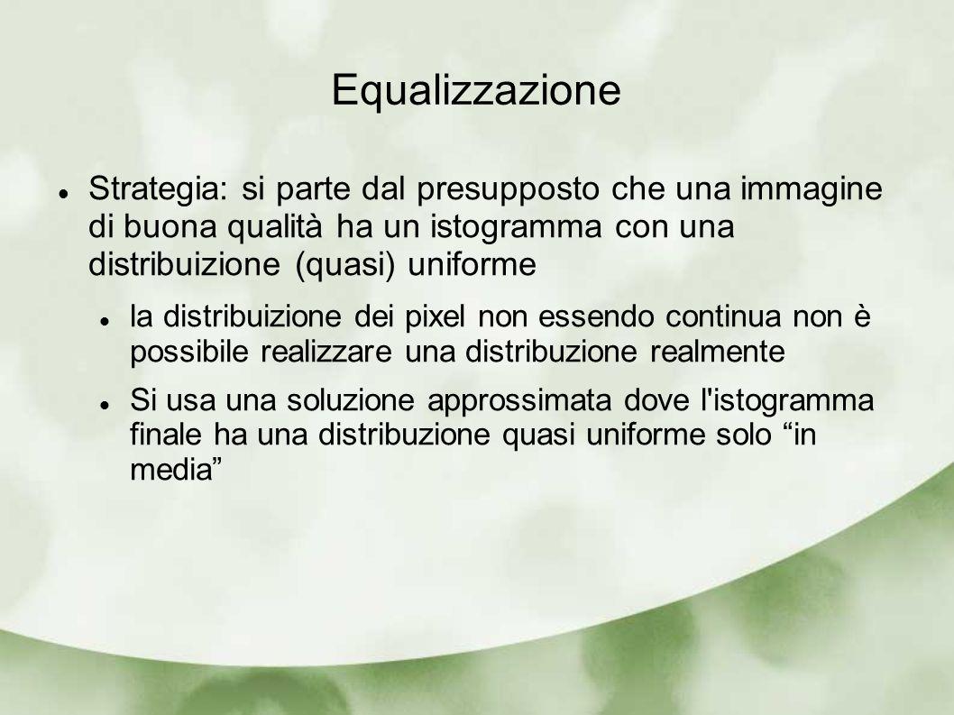 Equalizzazione Strategia: si parte dal presupposto che una immagine di buona qualità ha un istogramma con una distribuizione (quasi) uniforme la distr