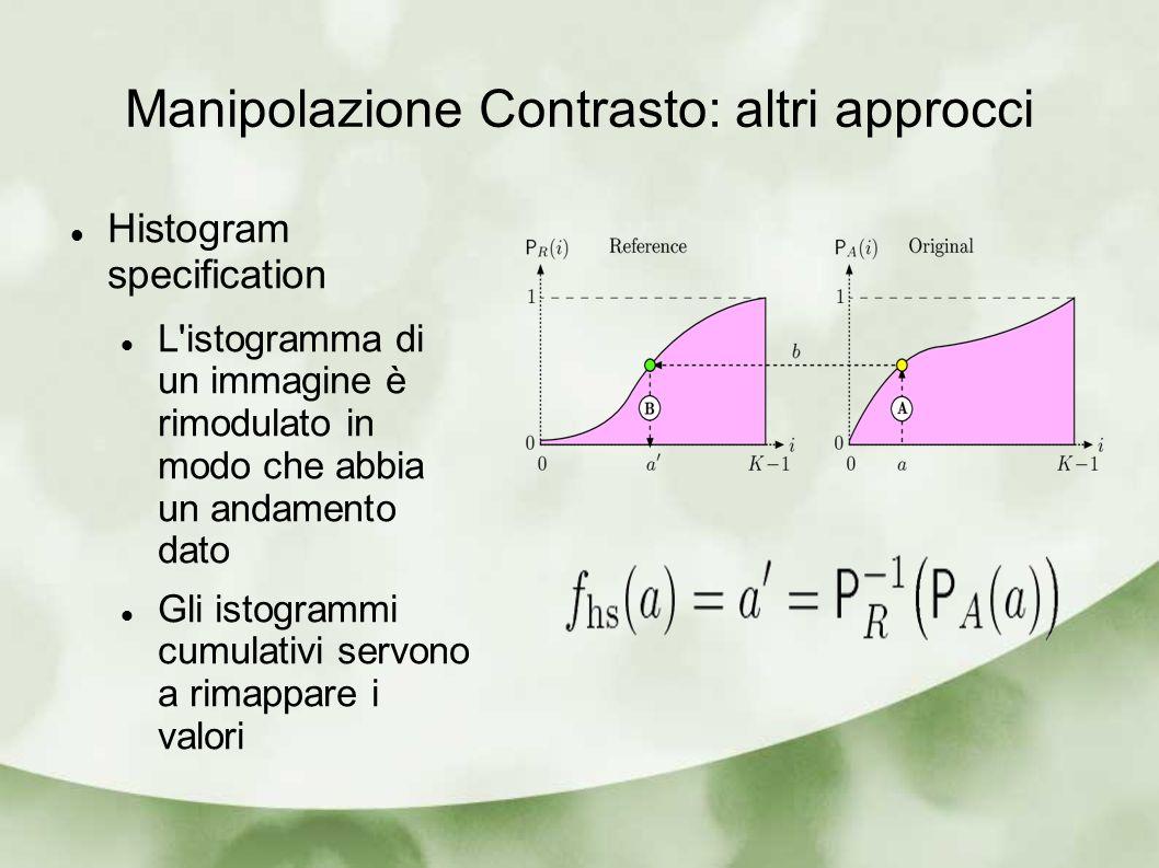 Manipolazione Contrasto: altri approcci Histogram specification L istogramma di un immagine è rimodulato in modo che abbia un andamento dato Gli istogrammi cumulativi servono a rimappare i valori
