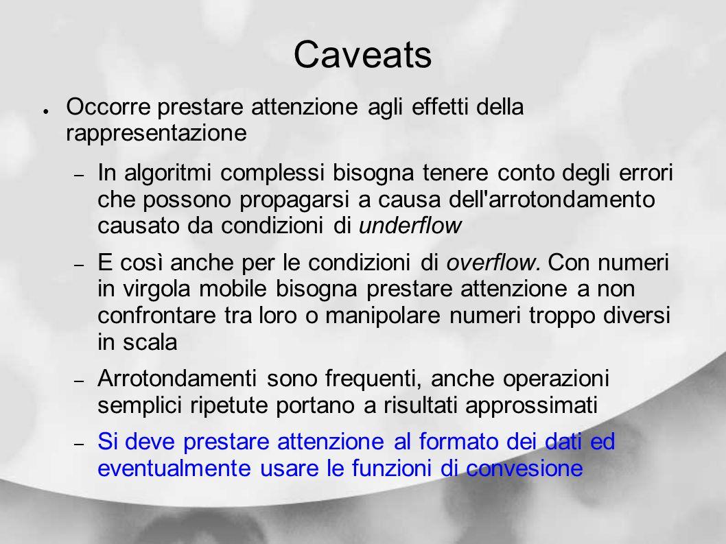 Caveats Occorre prestare attenzione agli effetti della rappresentazione – In algoritmi complessi bisogna tenere conto degli errori che possono propaga