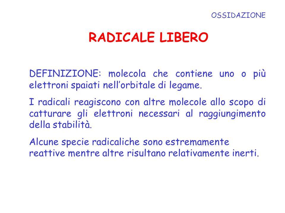 OSSIDAZIONE RADICALE LIBERO DEFINIZIONE: molecola che contiene uno o più elettroni spaiati nellorbitale di legame. I radicali reagiscono con altre mol