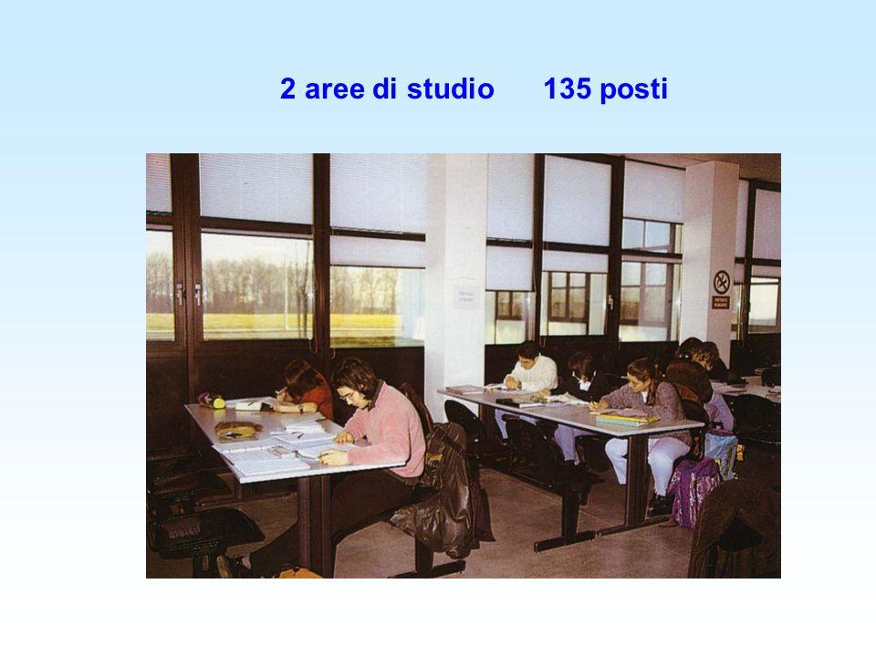 2 aree di studio135 posti