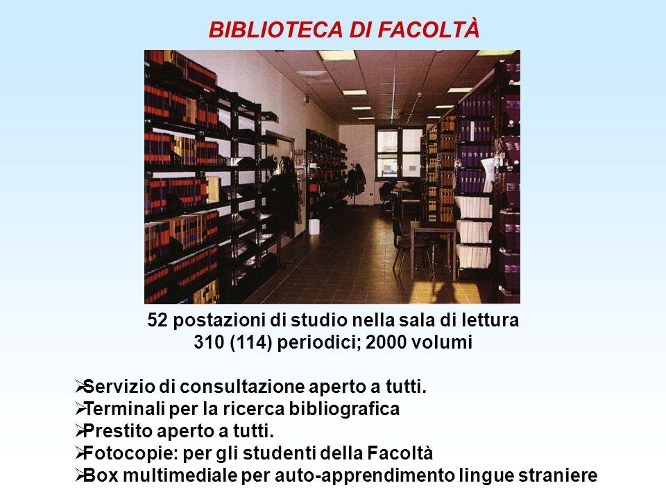 52 postazioni di studio nella sala di lettura 310 (114) periodici; 2000 volumi Servizio di consultazione aperto a tutti. Terminali per la ricerca bibl
