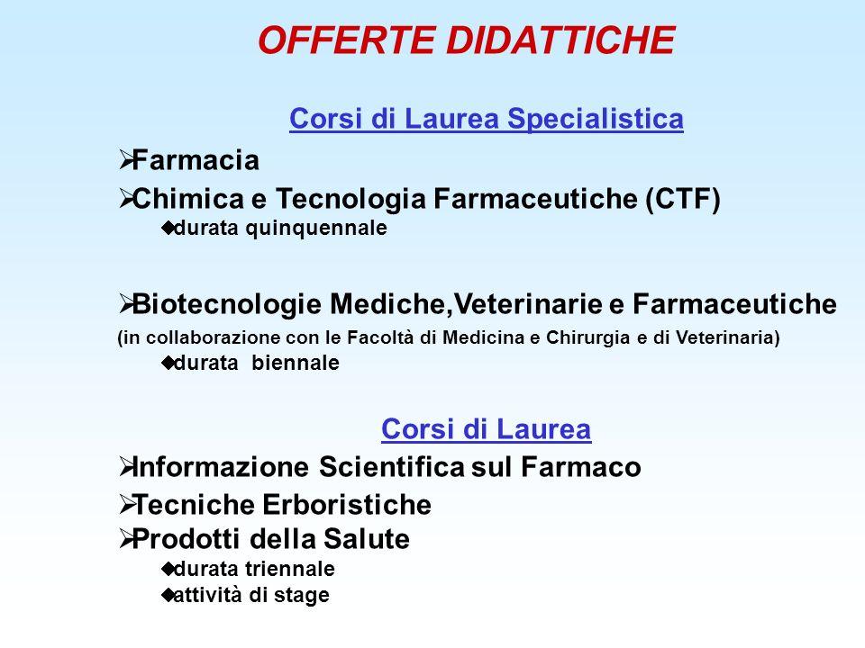OFFERTE DIDATTICHE Corsi di Laurea Specialistica Farmacia Chimica e Tecnologia Farmaceutiche (CTF) durata quinquennale Biotecnologie Mediche,Veterinar