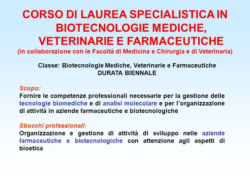 CORSO DI LAUREA SPECIALISTICA IN BIOTECNOLOGIE MEDICHE, VETERINARIE E FARMACEUTICHE (in collaborazione con le Facoltà di Medicina e Chirurgia e di Vet