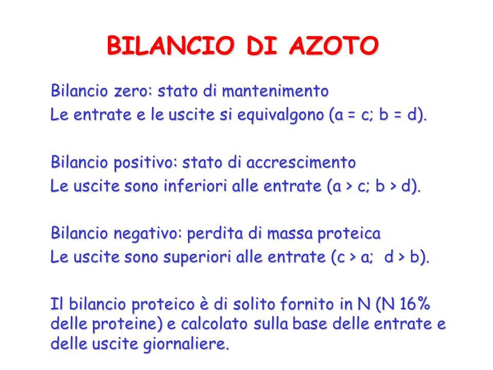 BILANCIO DI AZOTO Bilancio zero: stato di mantenimento Le entrate e le uscite si equivalgono (a = c; b = d). Bilancio positivo: stato di accrescimento