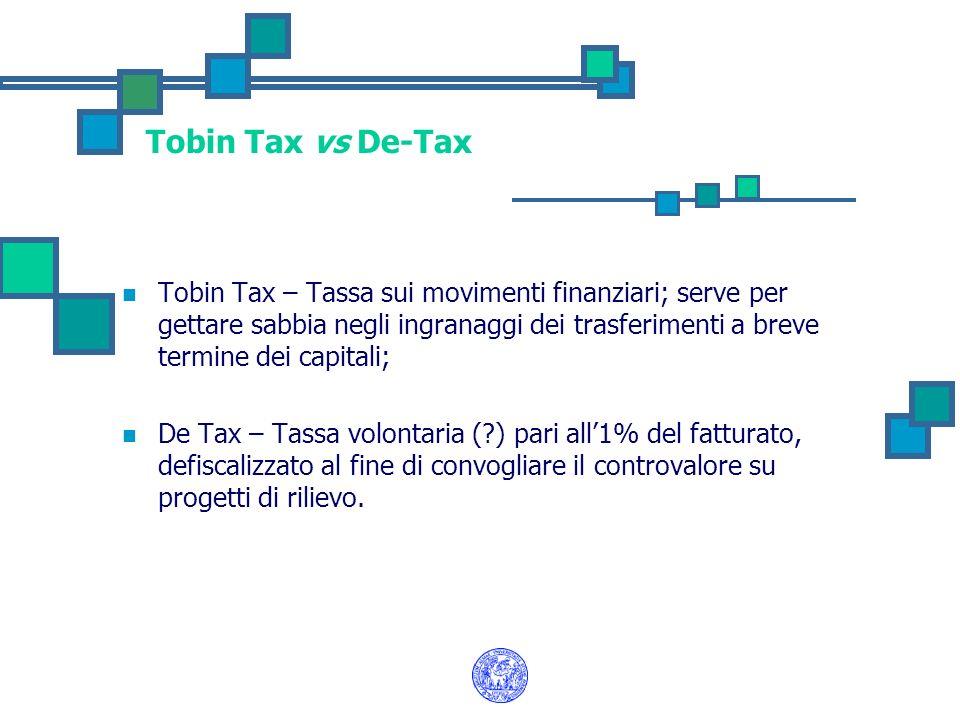Tobin Tax vs De-Tax Tobin Tax – Tassa sui movimenti finanziari; serve per gettare sabbia negli ingranaggi dei trasferimenti a breve termine dei capita