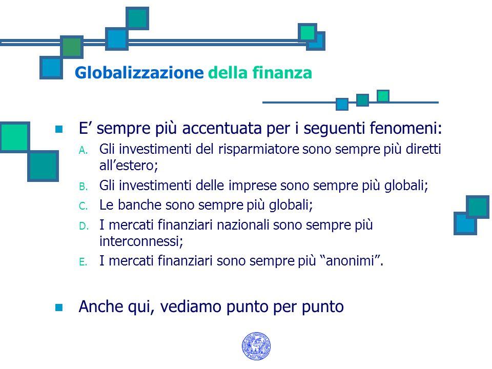 Globalizzazione della finanza E sempre più accentuata per i seguenti fenomeni: A. Gli investimenti del risparmiatore sono sempre più diretti allestero
