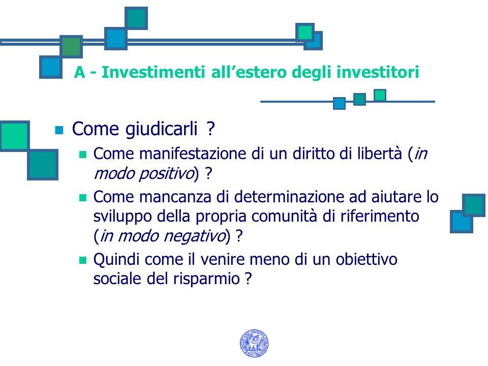 A - Investimenti allestero degli investitori Come giudicarli ? Come manifestazione di un diritto di libertà (in modo positivo) ? Come mancanza di dete