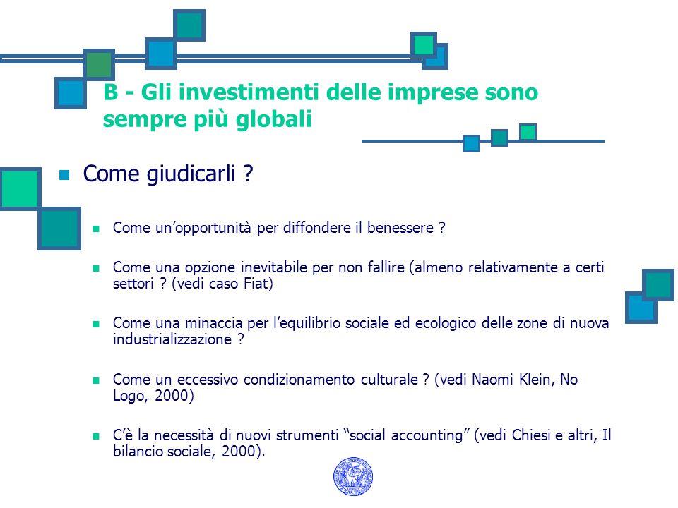 B - Gli investimenti delle imprese sono sempre più globali Come giudicarli ? Come unopportunità per diffondere il benessere ? Come una opzione inevita