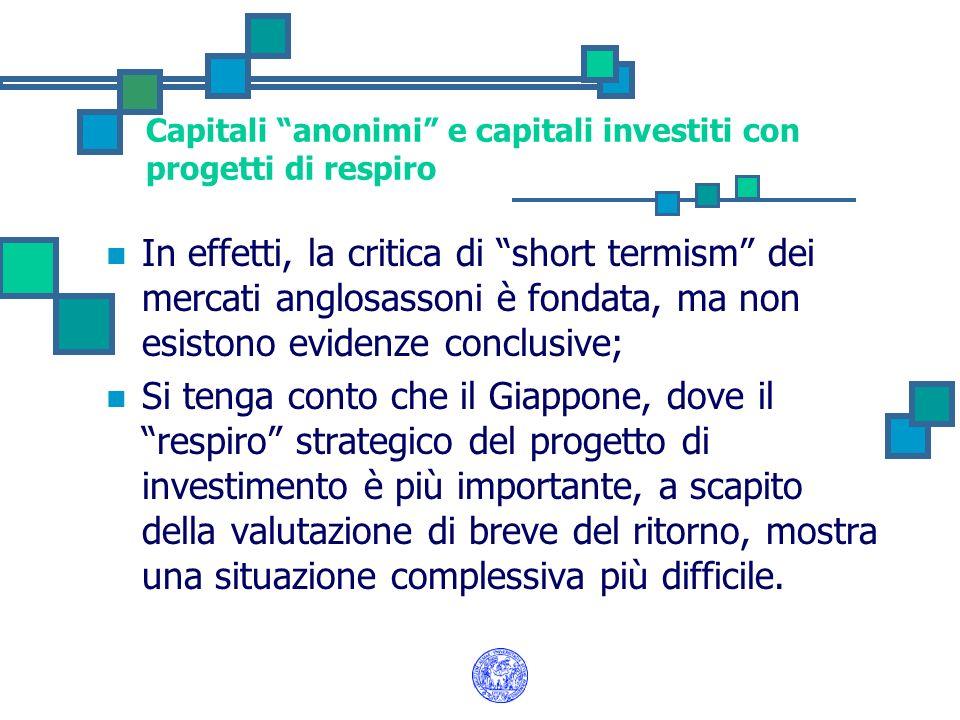 Capitali anonimi e capitali investiti con progetti di respiro In effetti, la critica di short termism dei mercati anglosassoni è fondata, ma non esist