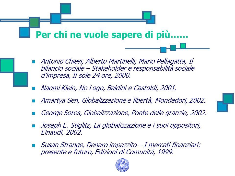 Per chi ne vuole sapere di più…… Antonio Chiesi, Alberto Martinelli, Mario Pellagatta, Il bilancio sociale – Stakeholder e responsabilità sociale dimp