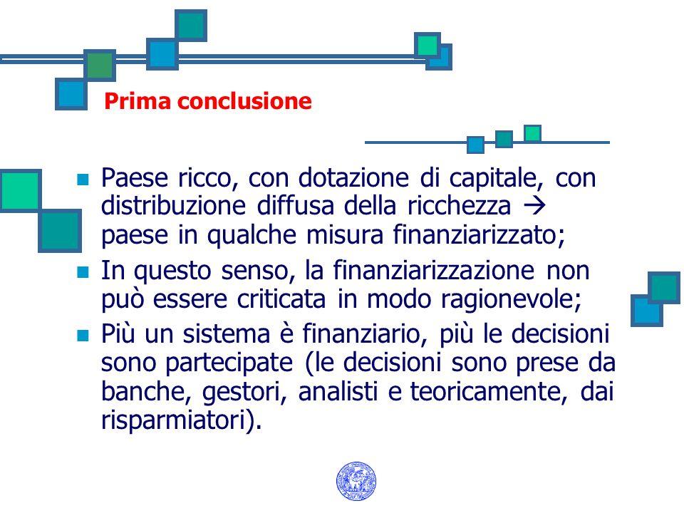 Prima conclusione Paese ricco, con dotazione di capitale, con distribuzione diffusa della ricchezza paese in qualche misura finanziarizzato; In questo