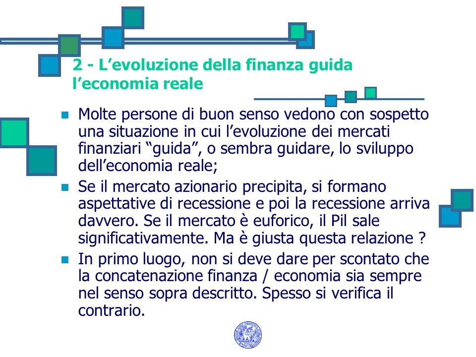 2 - Levoluzione della finanza guida leconomia reale Molte persone di buon senso vedono con sospetto una situazione in cui levoluzione dei mercati fina