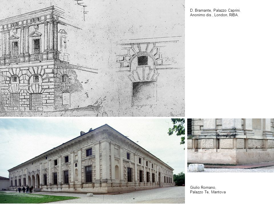 D. Bramante, Palazzo Caprini. Anonimo dis., London, RIBA. Giulio Romano, Palazzo Te, Mantova