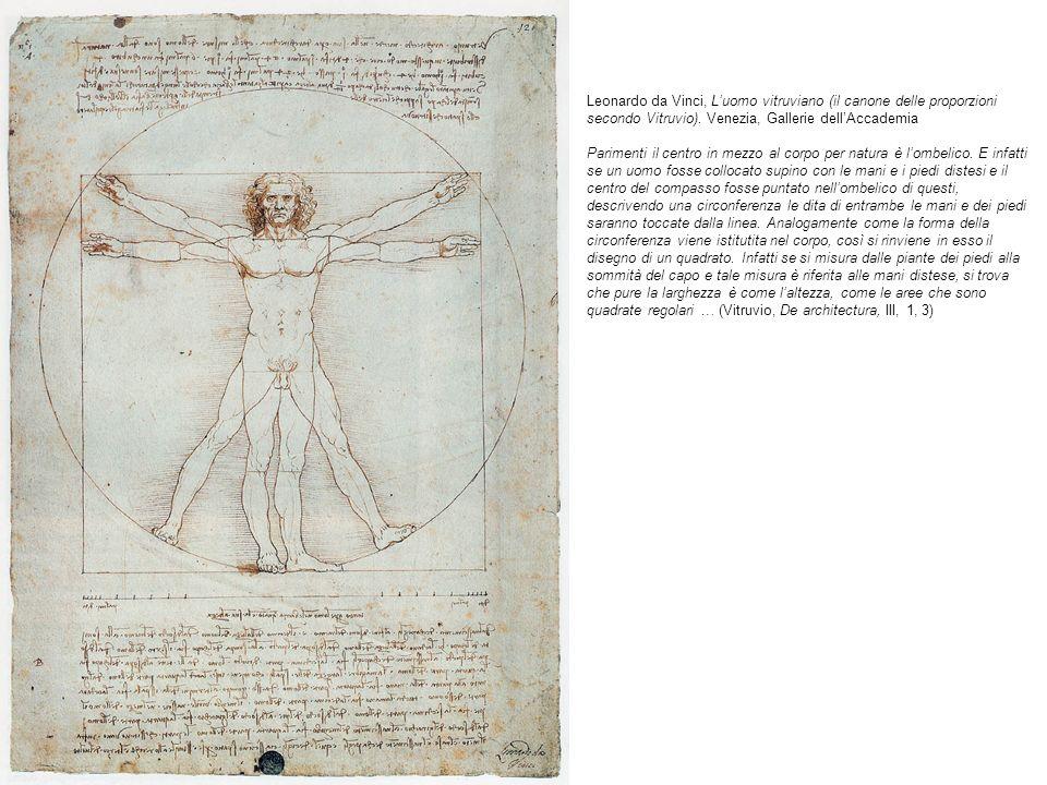 Leonardo da Vinci, Luomo vitruviano (il canone delle proporzioni secondo Vitruvio). Venezia, Gallerie dellAccademia Parimenti il centro in mezzo al co
