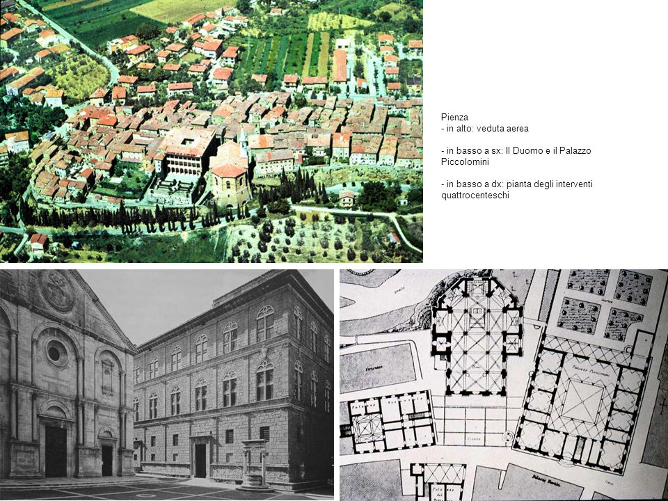 Pienza - in alto: veduta aerea - in basso a sx: Il Duomo e il Palazzo Piccolomini - in basso a dx: pianta degli interventi quattrocenteschi
