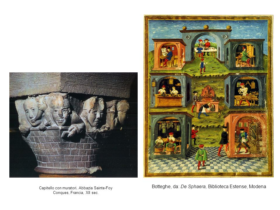 Capitello con muratori, Abbazia Sainte-Foy Conques, Francia, XII sec. Botteghe, da: De Sphaera, Biblioteca Estense, Modena
