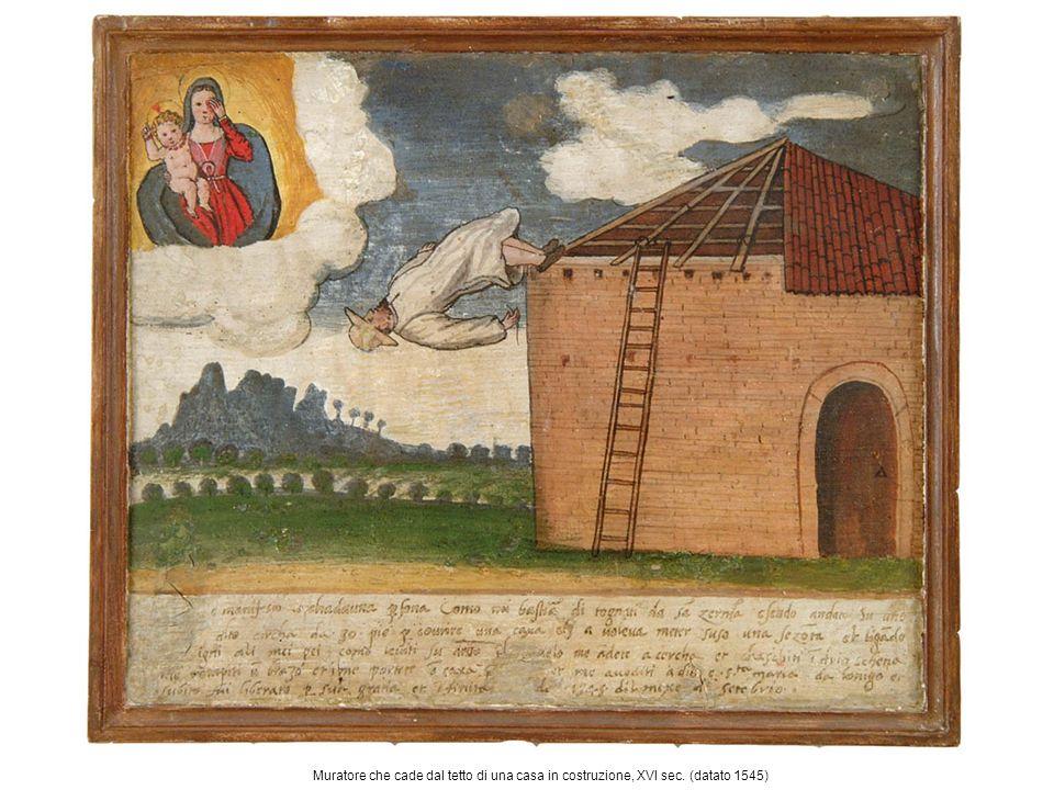 Muratore che cade dal tetto di una casa in costruzione, XVI sec. (datato 1545)