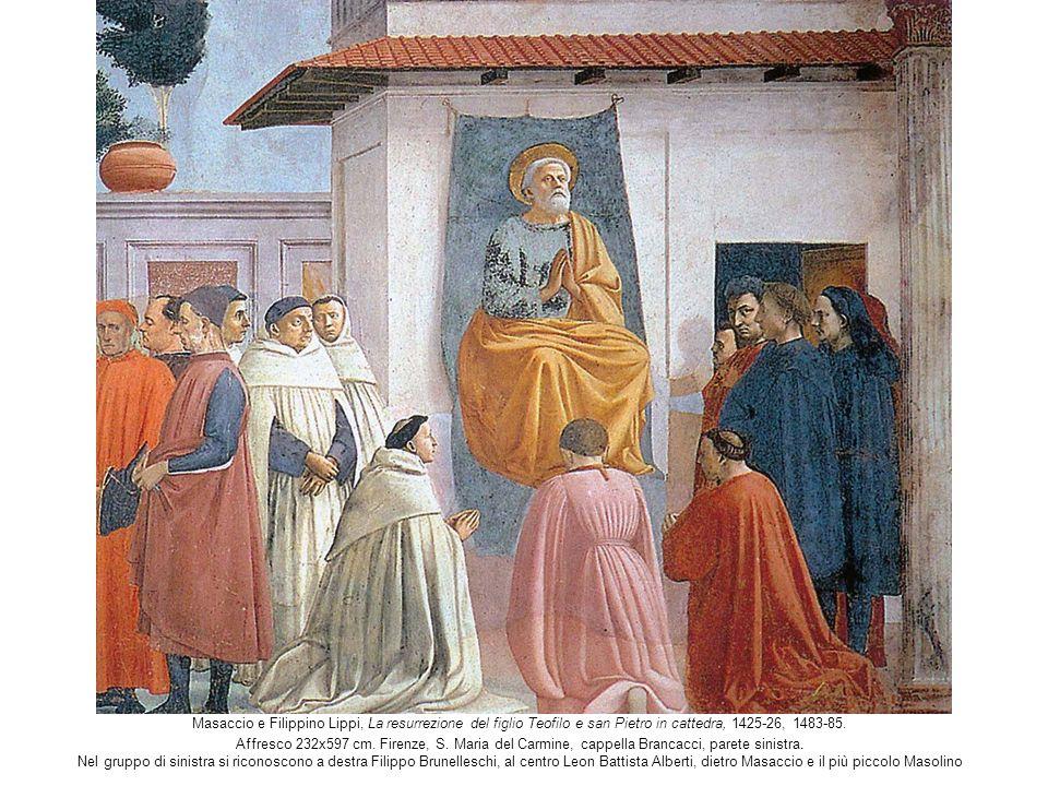 Masaccio e Filippino Lippi, La resurrezione del figlio Teofilo e san Pietro in cattedra, 1425-26, 1483-85. Affresco 232x597 cm. Firenze, S. Maria del