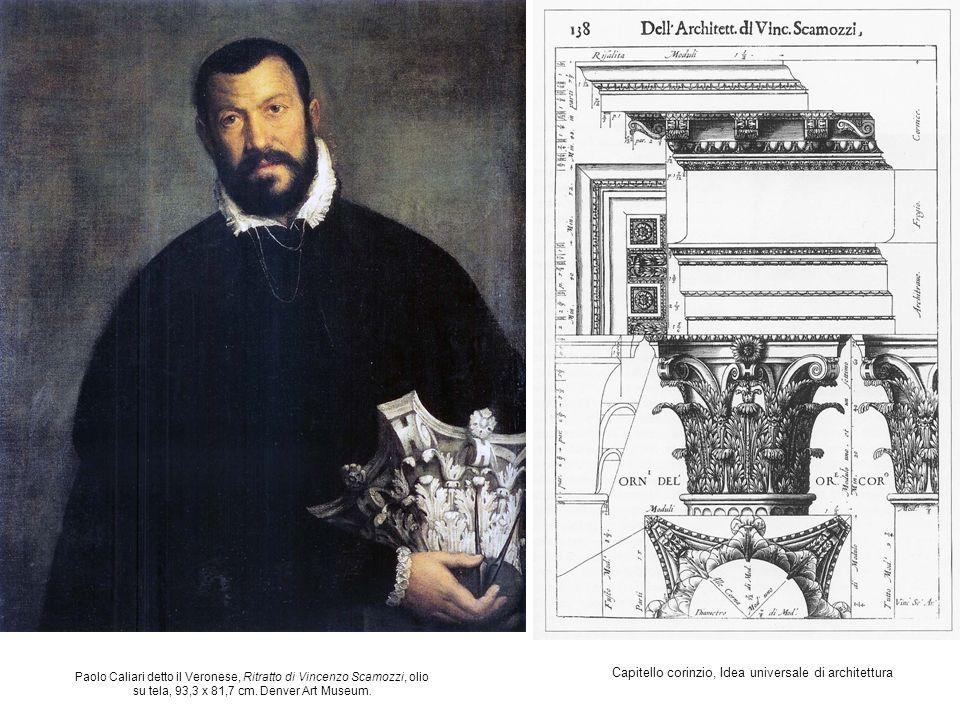 Capitello corinzio, Idea universale di architettura Paolo Caliari detto il Veronese, Ritratto di Vincenzo Scamozzi, olio su tela, 93,3 x 81,7 cm. Denv