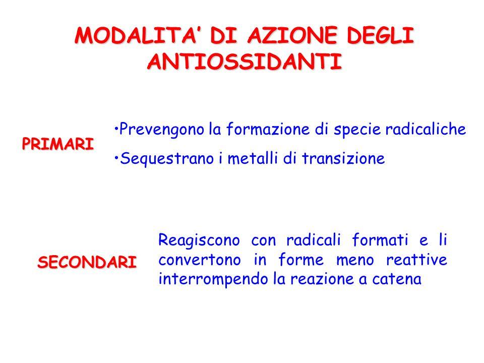 CLASSIFICAZIONE DEGLI ANTIOSSIDANTI ENDOGENI ENZIMI : SOD, catalasi, glutatione perossidasi PROTEINE : proteine-SH, leganti metalli (Fe, Cu) ALTRE MOLECOLE : acido urico, bilirubina...