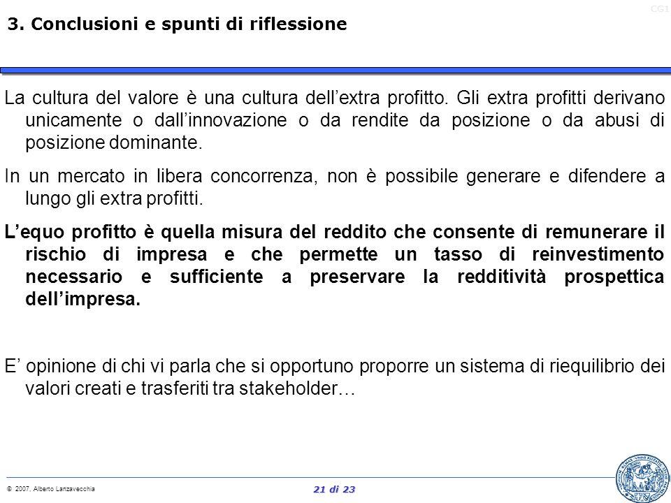 CG1 © 2007, Alberto Lanzavecchia 20 di 23 La gestione del capitale investito per la creazione di valore è assai spesso attuata mediante la cessione di