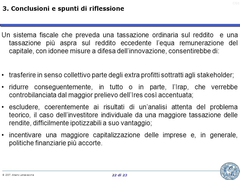 CG1 © 2007, Alberto Lanzavecchia 21 di 23 La cultura del valore è una cultura dellextra profitto. Gli extra profitti derivano unicamente o dallinnovaz