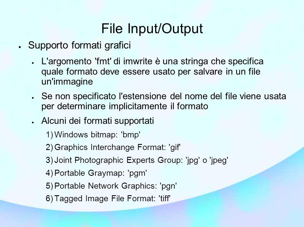 File Input/Output Supporto formati grafici L'argomento 'fmt' di imwrite è una stringa che specifica quale formato deve essere usato per salvare in un