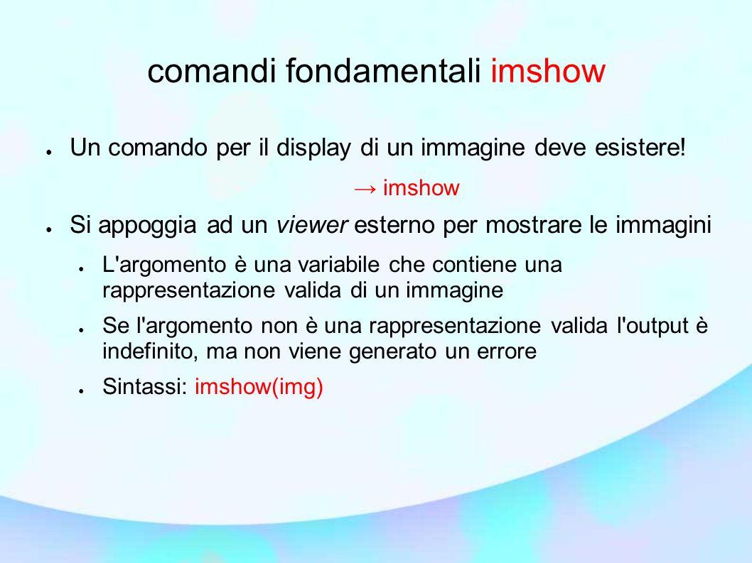 comandi fondamentali imshow Un comando per il display di un immagine deve esistere! imshow Si appoggia ad un viewer esterno per mostrare le immagini L