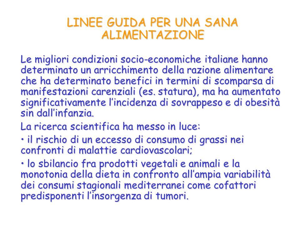 Le migliori condizioni socio-economiche italiane hanno determinato un arricchimento della razione alimentare che ha determinato benefici in termini di