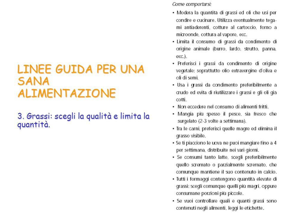 LINEE GUIDA PER UNA SANA ALIMENTAZIONE 3. Grassi: scegli la qualità e limita la quantità.