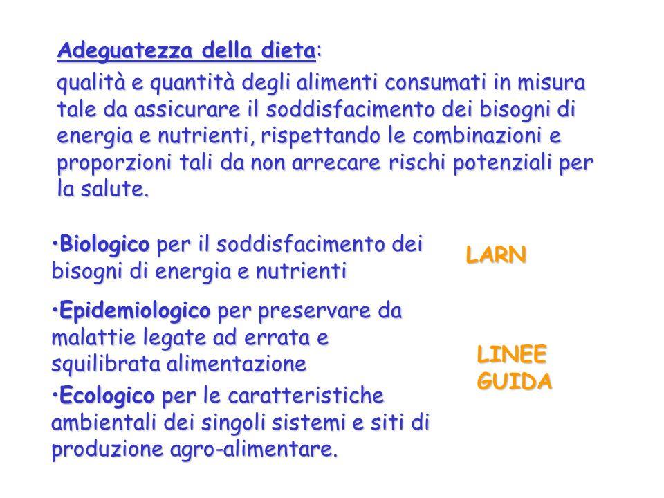 Adeguatezza della dieta: qualità e quantità degli alimenti consumati in misura tale da assicurare il soddisfacimento dei bisogni di energia e nutrient