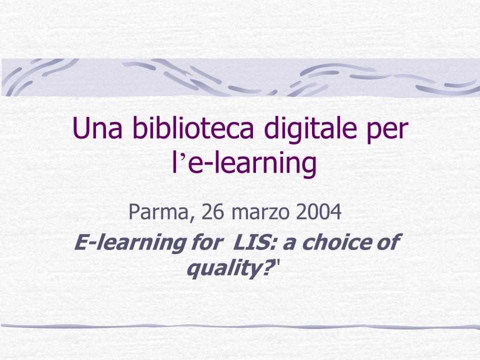 lucia.bertini@unifi.it - Parma, 26/03/ 2004 Una biblioteca digitale per l e-learning Servizi per i docenti 4.Assistenza nella gestione dei diritti di proprietà intellettuale per le e-reserves;