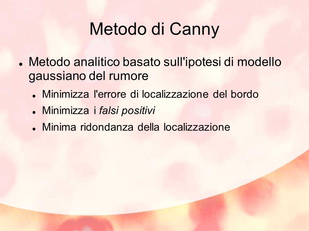 Metodo di Canny Metodo analitico basato sull'ipotesi di modello gaussiano del rumore Minimizza l'errore di localizzazione del bordo Minimizza i falsi