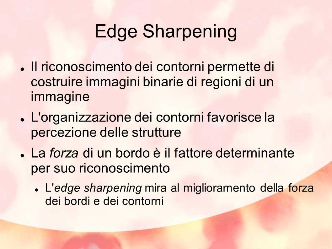 Edge Sharpening Il riconoscimento dei contorni permette di costruire immagini binarie di regioni di un immagine L'organizzazione dei contorni favorisc