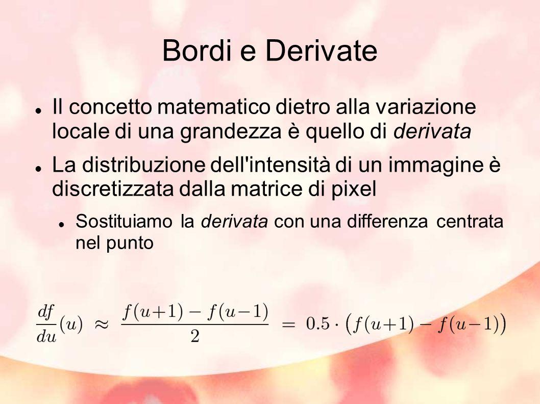 Bordi e Derivate Il concetto matematico dietro alla variazione locale di una grandezza è quello di derivata La distribuzione dell'intensità di un imma