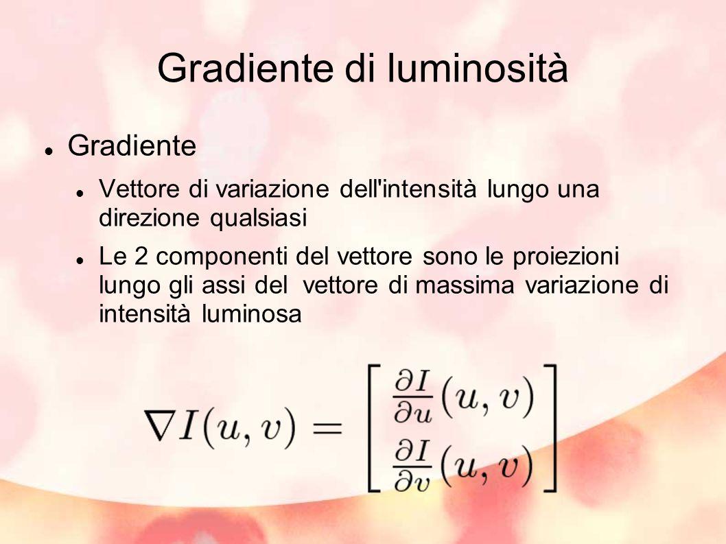 Gradiente di luminosità Gradiente Vettore di variazione dell'intensità lungo una direzione qualsiasi Le 2 componenti del vettore sono le proiezioni lu
