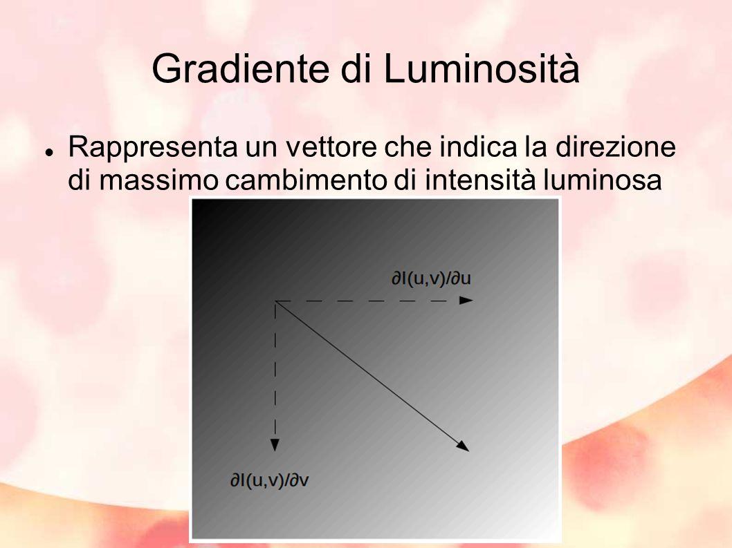 Gradiente di Luminosità Rappresenta un vettore che indica la direzione di massimo cambimento di intensità luminosa