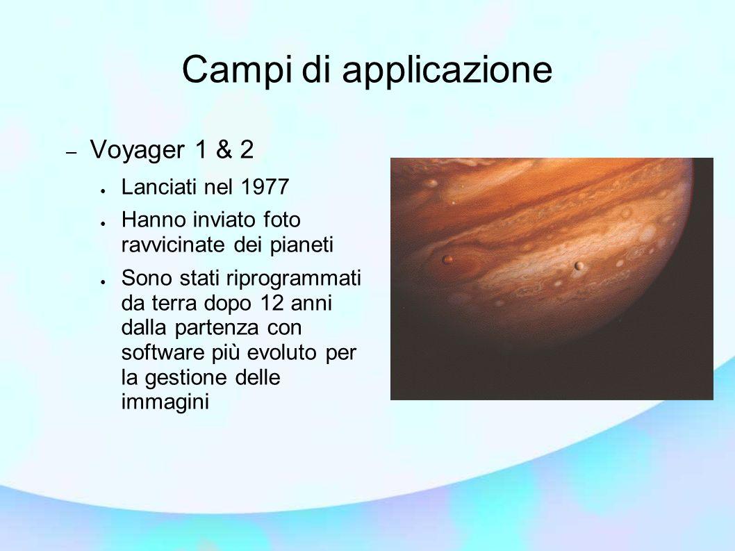 Campi di applicazione – Voyager 1 & 2 Lanciati nel 1977 Hanno inviato foto ravvicinate dei pianeti Sono stati riprogrammati da terra dopo 12 anni dalla partenza con software più evoluto per la gestione delle immagini