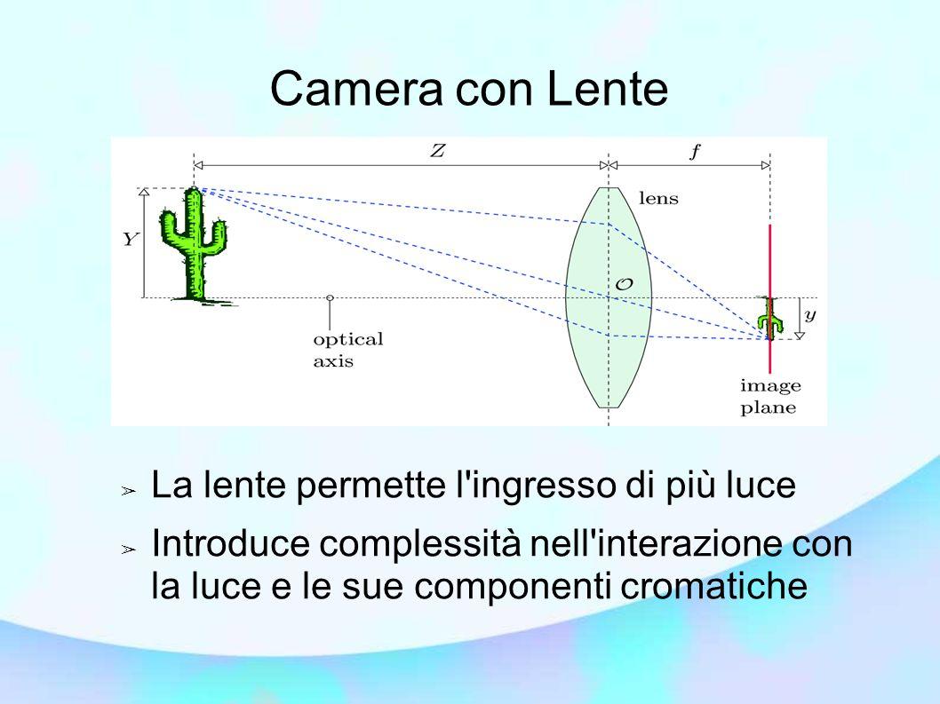 Camera con Lente La lente permette l ingresso di più luce Introduce complessità nell interazione con la luce e le sue componenti cromatiche