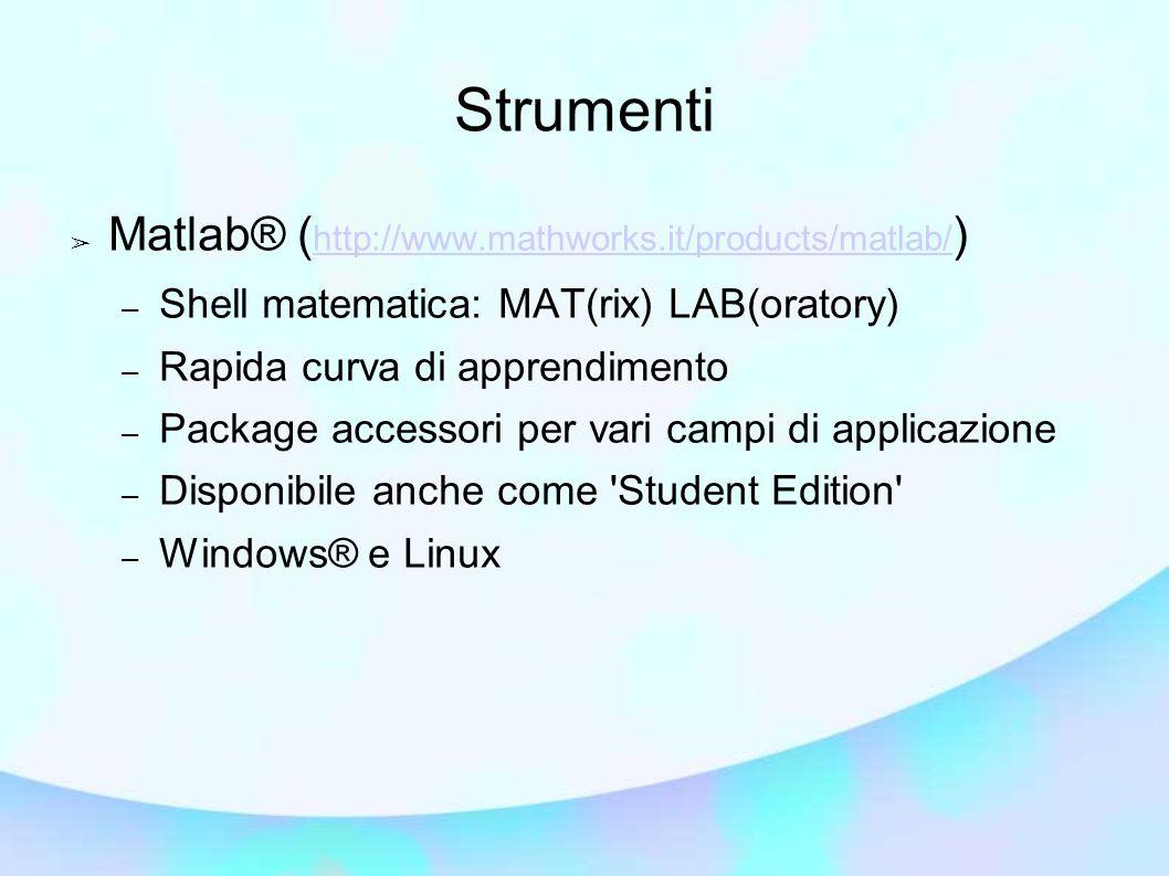 Matlab® ( http://www.mathworks.it/products/matlab/ ) http://www.mathworks.it/products/matlab/ – Shell matematica: MAT(rix) LAB(oratory) – Rapida curva di apprendimento – Package accessori per vari campi di applicazione – Disponibile anche come Student Edition – Windows® e Linux Strumenti