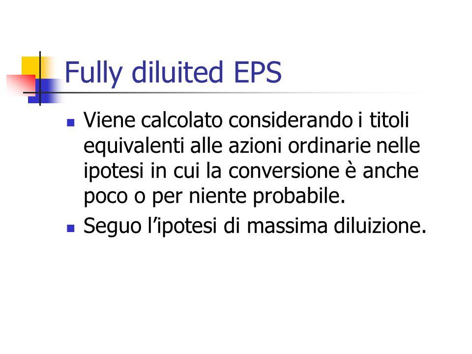 Fully diluited EPS Viene calcolato considerando i titoli equivalenti alle azioni ordinarie nelle ipotesi in cui la conversione è anche poco o per niente probabile.