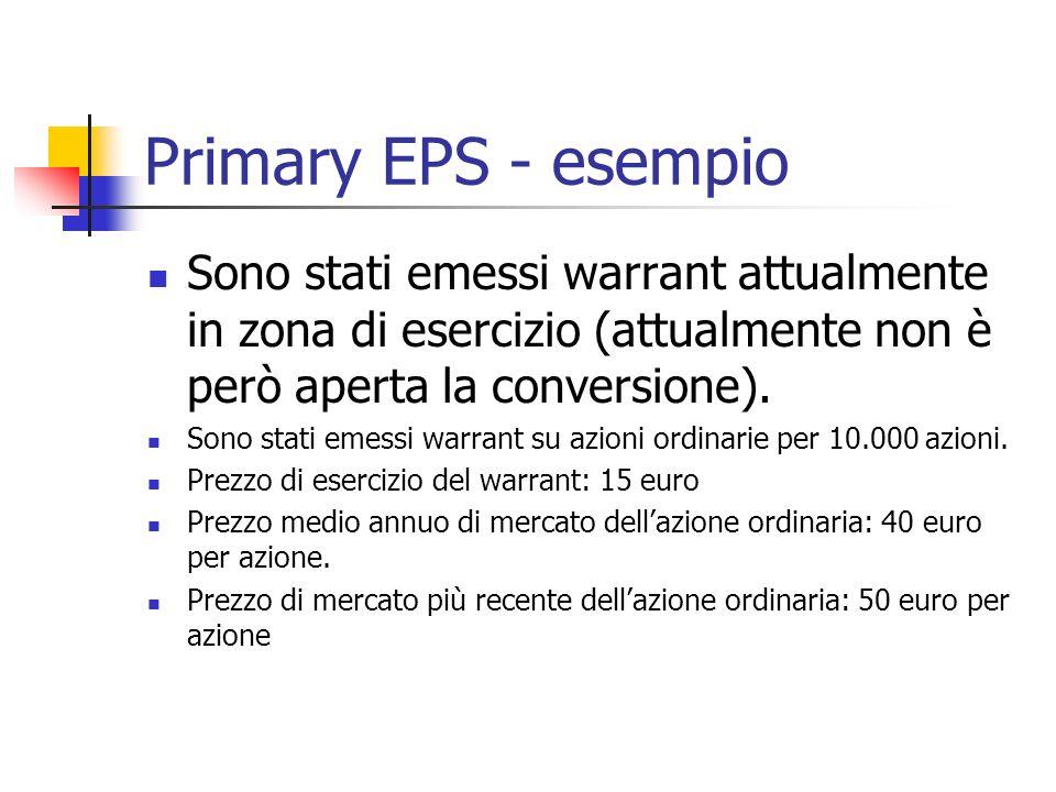 Primary EPS - esempio Sono stati emessi warrant attualmente in zona di esercizio (attualmente non è però aperta la conversione). Sono stati emessi war