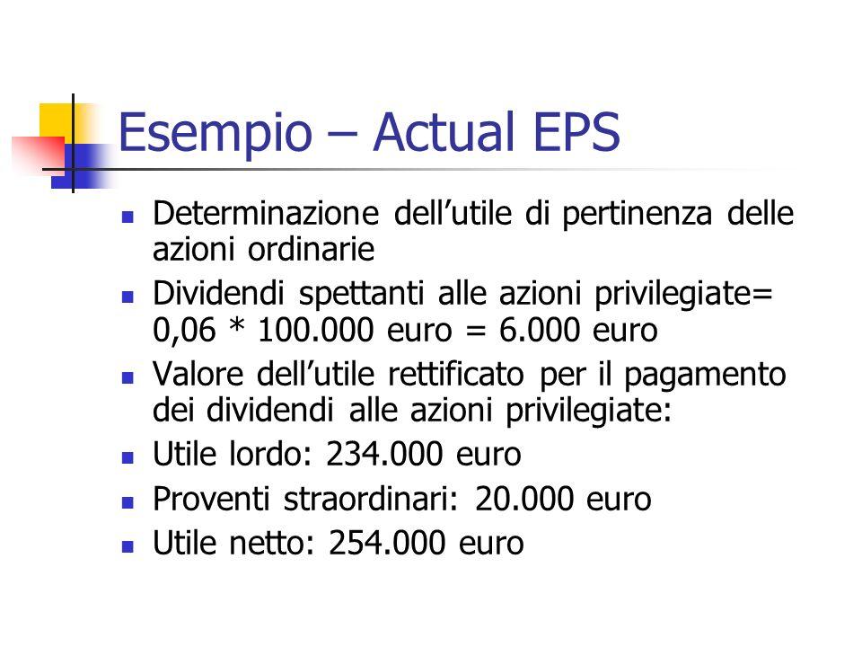 Esempio – Actual EPS Determinazione dellutile di pertinenza delle azioni ordinarie Dividendi spettanti alle azioni privilegiate= 0,06 * 100.000 euro = 6.000 euro Valore dellutile rettificato per il pagamento dei dividendi alle azioni privilegiate: Utile lordo: 234.000 euro Proventi straordinari: 20.000 euro Utile netto: 254.000 euro