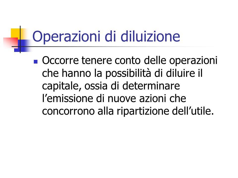 Operazioni di diluizione Occorre tenere conto delle operazioni che hanno la possibilità di diluire il capitale, ossia di determinare lemissione di nuove azioni che concorrono alla ripartizione dellutile.