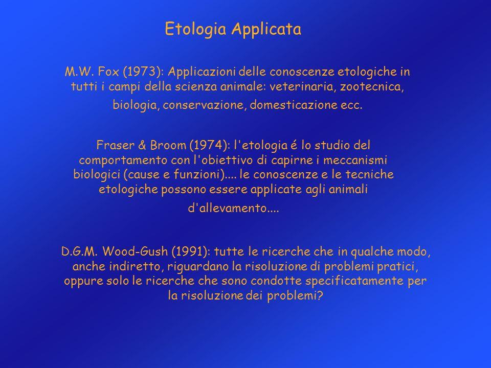 Etologia Applicata M.W. Fox (1973): Applicazioni delle conoscenze etologiche in tutti i campi della scienza animale: veterinaria, zootecnica, biologia