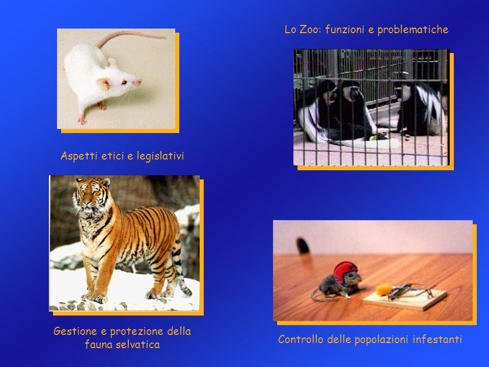 Lo Zoo: funzioni e problematiche Gestione e protezione della fauna selvatica Controllo delle popolazioni infestanti Aspetti etici e legislativi
